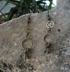Vintage Inspired Steampunk Keys and Cog Earrings by Alternativity, $10.00