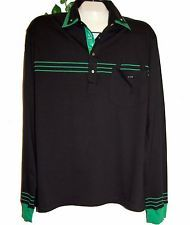 Mondo Black Green Cotton Men Polo Style Shirt Size 4XL Long Sleeve Striped NEW