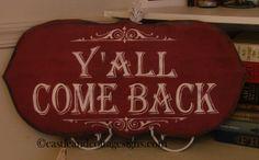 vintage Cowboy sign Yall Come Back hanpainted via Etsy