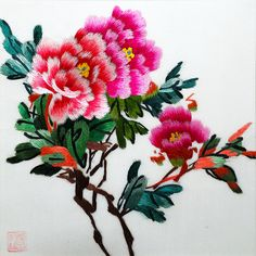 "Peonies with Bud #Beautiful #Handmade #Silk #Embroidery #Art 36189 https://www.amazon.com/King-Silk-Art-Embroidery-36188_36189WFB1/dp/B011DKKAZK There is a famous saying in China ""When peonies bloom, tickets rise."" This references the popularity of the Luoyang Peony Festival. ""Tickets rising"" refers to tourist gouging by locals during the festival. The saying is a comment on greed and human nature."