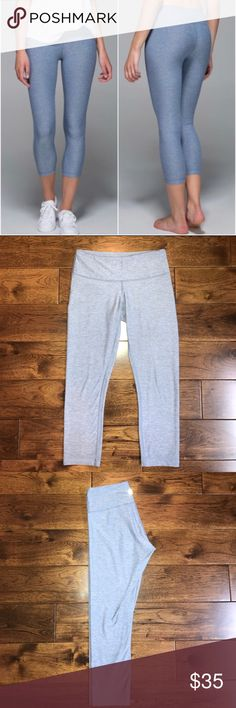 Lululemon wunder under cropped leggings size 4 Lululemon's classic wunder under leggings in color heathered blue denim. Very gently worn, slight pilling of fabric in the upper inner thigh area. Willing to accept offers! lululemon athletica Pants Leggings