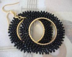 Perle rocaille boucles d'oreilles - base noir perlé boucles d'oreilles - perles bijoux déclaration