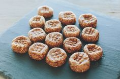 Peanut Butter Bites by sproutedkitchen: Made with peanut butter, almonds and dates, these make a great travel snack!