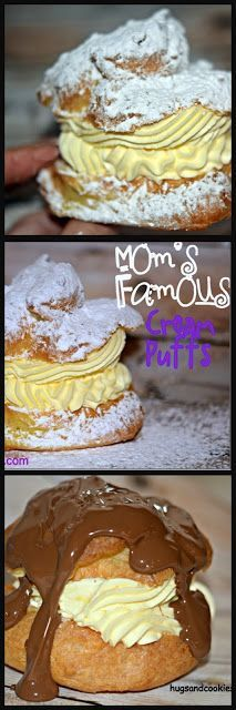 MY MOM'S FAMOUS CREAM PUFFS! Uses vanilla instant pudding, heavy cream and chocolate if you want over the top. Makes 12 decent sized puffs, double to feed a crowd (and make a little smaller). Just Desserts, Delicious Desserts, Dessert Recipes, Yummy Food, Italian Desserts, Party Desserts, Healthy Desserts, Cupcakes, Cupcake Cakes