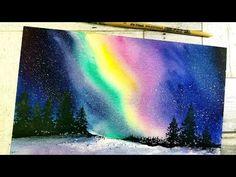 Aurora Borealis Watercolor Painting - AnnaNwatercolors - Re-Wilding Watercolor Moon, Watercolor Video, Watercolour Tutorials, Watercolor Paintings, Painting Art, Galaxy Pictures, Galaxy Painting, Aurora Borealis, Northern Lights