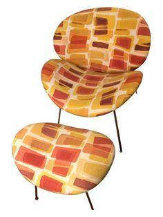Mid-Century Modern Chair & Ottoman on Chairish.com