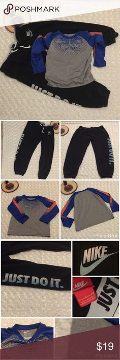 Nike Boys Top and Bottoms Bundle This bundle includes: A pair of Nike sweat pants. They are black with white and blue writing. Size small. Sweats are pre-owned gently used condition, with wear (please see photo 4). A Nike Dry-Fit Long Sleeve shirt. Size 6. Fabric: 100% polyester. Color: blue, grey and orange. Pre-owned gently used condition with no flaws. Nike Other