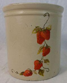 Very Nice Kitchen Crock with Handpainted Strawberry Strawberries 6 1/4