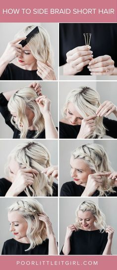 How To Do A Side Braid On Short Hair. Braids, summer hair, boho, hairstyle, women's hair, updo, hair half up, easy hairstyles, easy hair, quick braids, girls night out, style. #hairstyle #braids