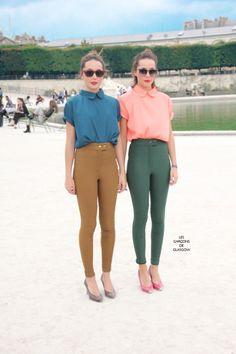 peter pan collars, skinny pants, round shades