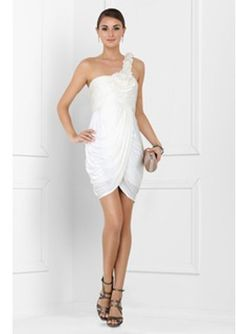 Sheath One-Shoulder Short/Mini Chiffon Charmeuse White Cocktail Dresses