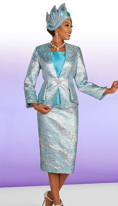 Ben Marc Three-piece metallic pattern suit with a peplum jacket. First Lady Church Suits, Church Suits And Hats, Women Church Suits, Church Attire, Church Dresses, Suits For Women, Ladies Suits, Church Clothes, Office Outfits Women