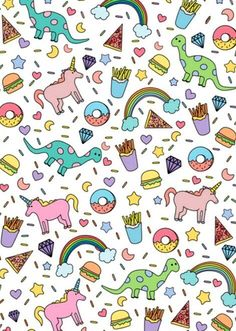 Rainbows, unicorns, dinosaurs + food !