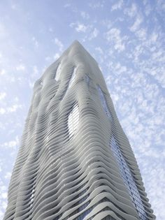 The Aqua Tower in Chicago. The Studio Gang designed multi-use building's undulating, white facade is quite mesmerizing against blue skies. Architecture Design, Residential Architecture, Amazing Architecture, Parametric Architecture, Parametric Design, Sustainable Architecture, Contemporary Architecture, Modern Buildings, Beautiful Buildings