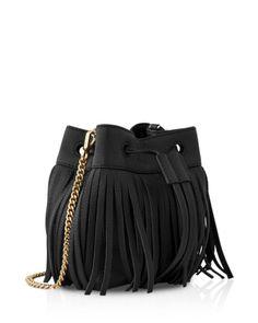 Whistles Micro Sidney Fringe Bucket Bag