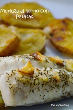 Merluza con patatas al horno.
