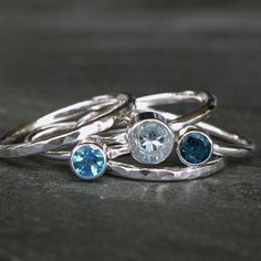 Custom Order for loreascu, Stacking Rings Sterling Silver, Aquamarine & White Topaz, Set of 6 Stackable Rings on Etsy, $160.00