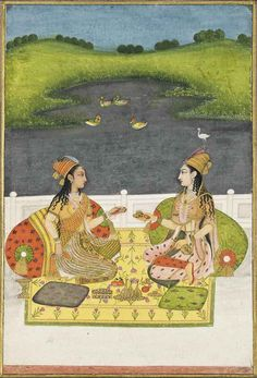 TWO LADIES IN CONVERSATION | MUGHAL SCHOOL, NORTH INDIA, CIRCA 1760-1780 | Drawings & Watercolors, body colour / gouache | Christie's