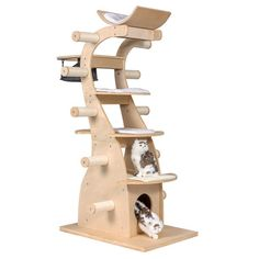 Good Life Modern Design Cat Tree House with Scratching Post Tower - Deluxe Solid Wood Indoor Furniture - 6 Floors Kitty Condo Climbing Play Center with Hammock Perch Cave and Ten Sisal Columns Cat Tree House, Cat Tree Condo, Cat Condo, Cat Playground, Playground Design, Cat Tree Plans, Cat House Plans, Diy Cat Tree, Cat Trees Diy Easy