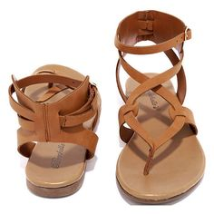 Boho Babe Tan Thong Sandals (£15) ❤ liked on Polyvore featuring shoes, sandals, thong sandals, faux leather sandals, tan shoes, tan strappy sandals and thong strap sandals