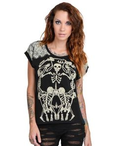 TOO-FAST-skelly-lace-TATTOO-GOTHIC-PUNK-ROCKABILLY-ZOMBIE-SKELETON-SKULL-SHIRT
