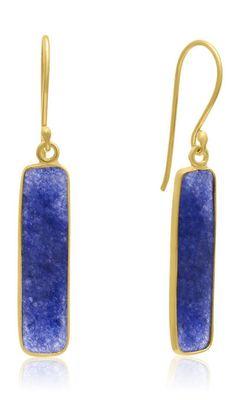 11k Sapphire Bar Earrings in 14k Gold