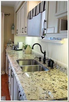 my favorite granite - Juperana Delicatus Backsplash Granite Kitchen, Kitchen Countertops, Kitchen Backsplash, New Kitchen, Kitchen Cabinets, Penny Backsplash, Granite Worktops, Beadboard Backsplash, Dark Cabinets
