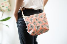 Tropical Leaf Crossbody Bag with Leather Strap