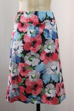 Size M 12 TALBOTS Ladies Skirt Floral Casual Pencil Stretch Boho Work Style EUC    eBay