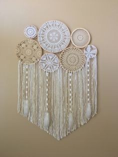 Dream Catcher Wall Hanging, Doily Dream Catcher, Boho Dreamcatcher, Dorm Decor, Bohemian Decor, Large Crochet Wall Hanging, Dreamcatcher by driftwoodanddreamers on Etsy https://www.etsy.com/listing/503157562/dream-catcher-wall-hanging-doily-dream