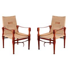 Pair of Melvill & Moon Safari Chairs | From a unique collection of antique and modern armchairs at https://www.1stdibs.com/furniture/seating/armchairs/