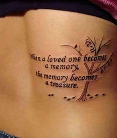 Another nice tribute for those we have lost. #tattoo #quotetattoo #quotes #tattoos Follow us on Pinterest: www.pinterest.com/yourtango Best Friend Tattoo Quotes, Good Tattoo Quotes, Meaningful Tattoo Quotes, Meaningful Tattoos For Girls, Unique Tattoos For Women, Chest Tattoo Quotes, Tattoo Tree, V Tattoo, Tattoos Of Trees