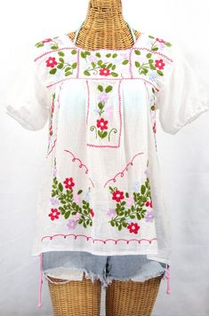 "Classic :) ""La Belleza"" Embroidered Mexican Peasant Blouse in White by SirenSirenSiren.com"