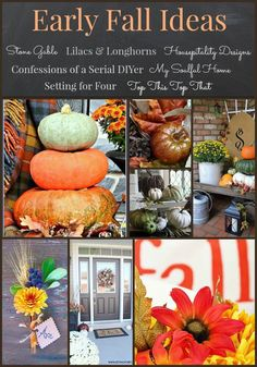 Bring the rich colors and textures of Fall into your home with these seven GORGEOUS early Fall Decorating Ideas! Includes Autumn DIY projects and Fall decor ideas for your home's interior and exterior! www.settingforfour.com: