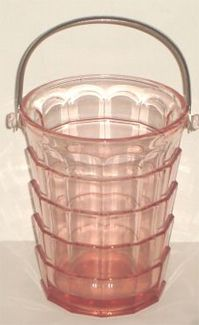 Tea Room Depression Glass Ice Bucket, manufactured by the Indiana Glass Company, 1926 - 1931