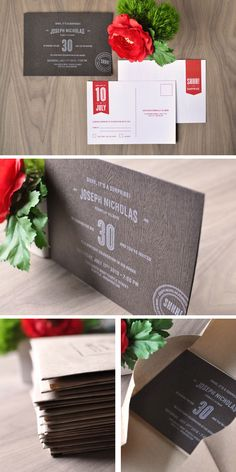 30th Birthday Party Invitations - Invite printed on faux bois paper from the GMUND Savanna line. By Twig & Thistle.