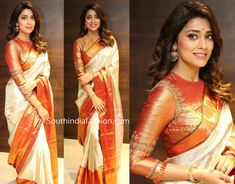 Shriya saran launched vrk silks showroom at chandanagar wearing a cream color kanjeevaram silk saree that has red and gold zari border by the label. Wedding Saree Blouse Designs, Wedding Silk Saree, Silk Saree Blouse Designs, Saree Blouse Patterns, Blouse Designs High Neck, Dress Designs, Designer Blouse Patterns, Saree Look, Saree Styles