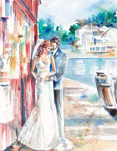 Paper Anniversary, Wedding Watercolor Portrait: Custom Wedding Painting for…