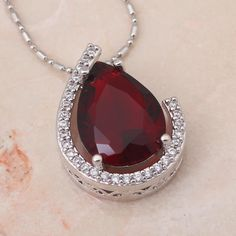 LN396 Glamorous fashion jewelry Red Zircon Silver filled Necklaces & Pendants