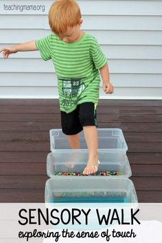 Sensory Walk – Exploring the Sense of Touch This sensory walk incorporates multiple sensations and gross motor activity (standing on one foot and balancing in between steps). It could be a sensory component of an obstacle course or done on its own. Five Senses Preschool, 5 Senses Activities, My Five Senses, Sensory Activities, Toddler Preschool, Preschool Activities, Motor Activities, Preschool Kindergarten, Sensory Tubs