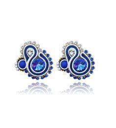 #Soutache #earrings, Soutache #jewerly, #handmade jewerly, #bijoux, #orecchini, #pendientes #fashion #design #madeinitaly #swaroski - CAPRI BLUE EARRINGS
