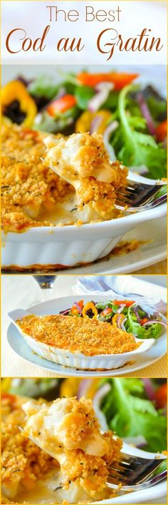 The best recipe for Cod au Gratin you will find. A real Newfoundland favourite dish. Some may balk at the suggestion of fish(Fish Recipes) Best Cod Recipes, Cod Fish Recipes, Salmon Recipes, Seafood Recipes, Cooking Recipes, Favorite Recipes, Healthy Recipes, Popular Recipes, Rock Recipes