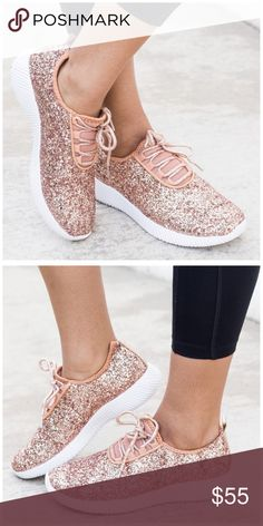 """New rose gold glitter sneakers Glittery sneakers that feature a lace up front, rigged sole, and a cushioned, arched heel. Sole height measures approximately 1.25"""". These fit true to size. If you are a half size order a size up.   ✨ Use the """"buy now"""" or """"add to bundle"""" feature to purchase ✨ Shoes Sneakers"""