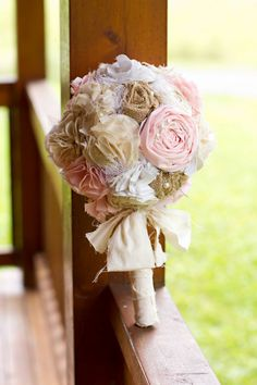Shabby chic romantic rustic soft pink,white,ivory and burlap bridal wedding bouquet. Shabby chic fabric flowers.. $110.00, via Etsy.