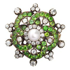 Diamond Demantoid Brooch Pendant with Center Pearl