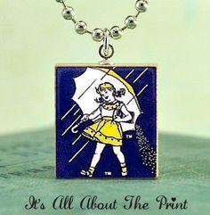 Morton salt girl pendant, I wanna! Scrabble Tile Art, Morton Salt Girl, Art Necklaces, Detailed Image, Ball Chain, Antique Silver, Whimsical, Old Things