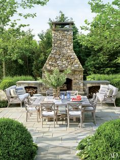 Cottage Style - Backyard Inspiration - Al Fresco - Patio Design - Outdoor Fireplace - Home Ideas