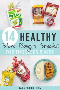 These 14 Healthy Store-Bought Snacks for Toddlers are ready-to-eat items for on-the-go snacking. Perfect for when you dont have time to DIY a snack b. Healthy Store Bought Snacks, Healthy Homemade Snacks, Healthy Vegan Snacks, Healthy Snacks For Kids, Healthy Toddler Food, Eating Healthy, Vegan Food, Finger Foods For Kids, Homemade Granola Bars