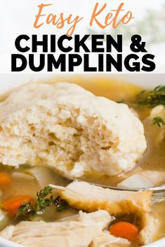 Easy Keto Chicken & Dumplings Recipe - I love comfort food and this low carb chi. - Easy Keto Chicken & Dumplings Recipe – I love comfort food and this low carb chicken and dumpling - Low Carb Chicken Recipes, Keto Chicken, Low Carb Recipes, Soup Recipes, Dinner Recipes, Keto Crockpot Recipes, Crusted Chicken, Snacks Recipes, Fried Chicken