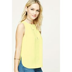 Forever21 Contemporary High-Low Top featuring polyvore women's fashion clothing tops light yellow bateau neckline tops love 21 sleeveless tops yellow top boat neck sleeveless tops